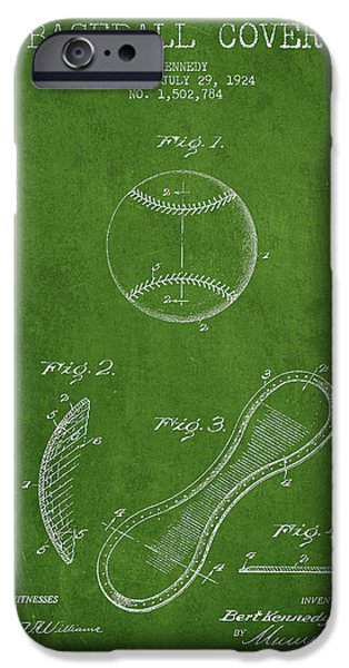 Baseball Glove iPhone Cases - Baseball Cover Patent Drawing From 1924 iPhone Case by Aged Pixel