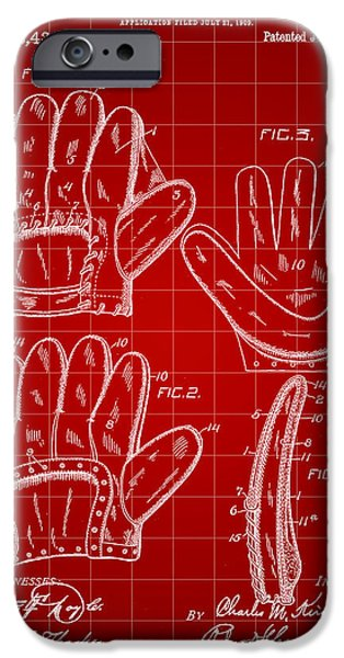 Fast Ball iPhone Cases - Baseball Glove Patent 1909 - Red iPhone Case by Stephen Younts