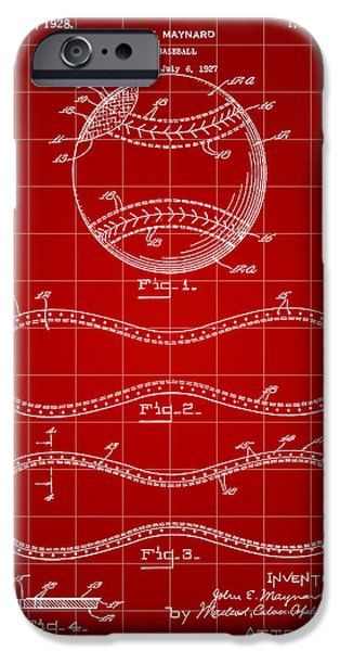 Fast Ball iPhone Cases - Baseball Patent 1927 - Red iPhone Case by Stephen Younts