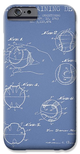 Base Ball iPhone Cases - Baseball Training Device Patent Drawing From 1963 iPhone Case by Aged Pixel