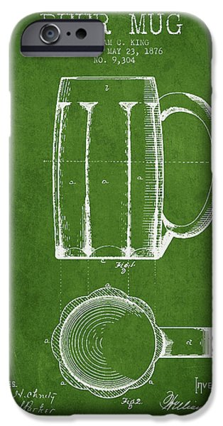 Glass Wall Digital iPhone Cases - Beer Mug Patent from 1876 - Green iPhone Case by Aged Pixel