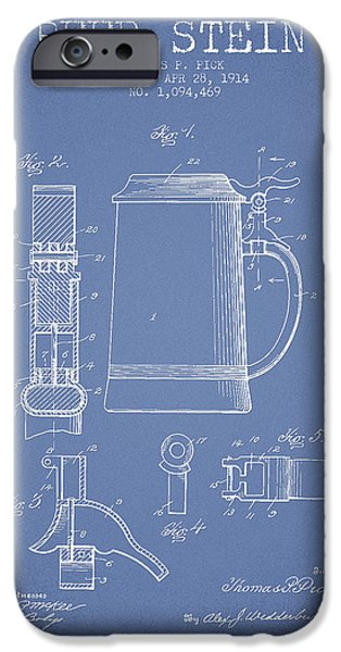 Stein iPhone Cases - Beer Stein Patent from 1914 - Light Blue iPhone Case by Aged Pixel