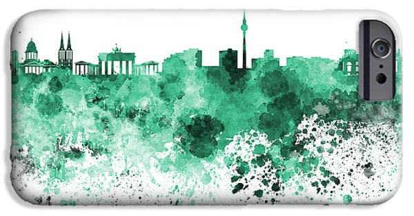 Berlin Paintings iPhone Cases - Berlin skyline in watercolor on white background iPhone Case by Pablo Romero