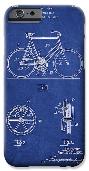 Sled iPhone Cases - Bicycle Gear Patent Drawing from 1922 - Blue iPhone Case by Aged Pixel