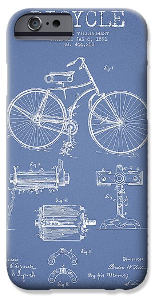 Bicycle iPhone Cases - Bicycle Patent Drawing from 1891 iPhone Case by Aged Pixel