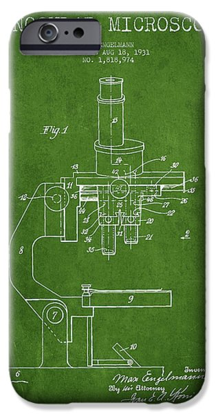 Microscope iPhone Cases - Binocular Microscope Patent Drawing from 1931 - Green iPhone Case by Aged Pixel