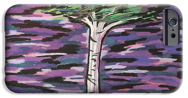 Dark Skies Pastels iPhone Cases - Birch at Dawn iPhone Case by Mike Manzi