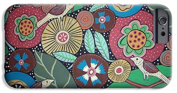 Botanical Paintings iPhone Cases - 3 Bird Botanical iPhone Case by Karla Gerard