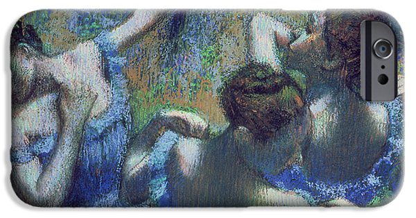 Lady Pastels iPhone Cases - Blue Dancers iPhone Case by Edgar Degas