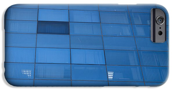Design iPhone Cases - Blue windows of office building iPhone Case by Jan Mika