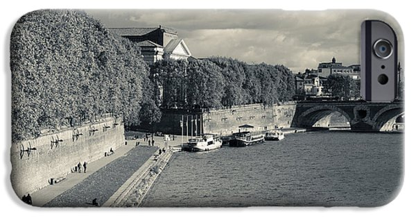 Midi iPhone Cases - Boats At Quai De La Daurade, Toulouse iPhone Case by Panoramic Images