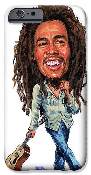 Reggae Music Art iPhone Cases - Bob Marley iPhone Case by Art