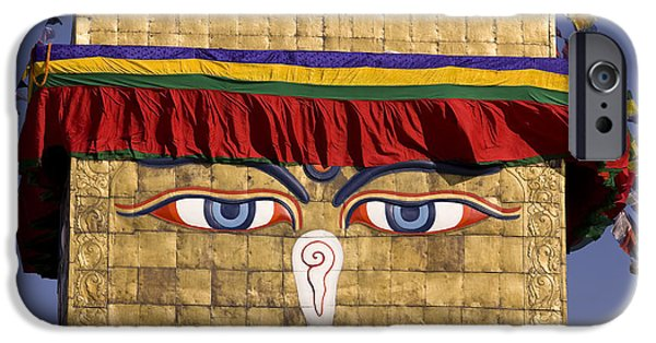 Tibetan Buddhism iPhone Cases - Bodnath Stupa iPhone Case by Kevin Miller