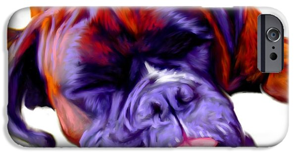 Boxer Digital Art iPhone Cases - Boxer Dog Art iPhone Case by Iain McDonald