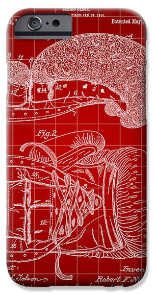 Punch Digital iPhone Cases - Boxing Glove Patent 1914 - Red iPhone Case by Stephen Younts
