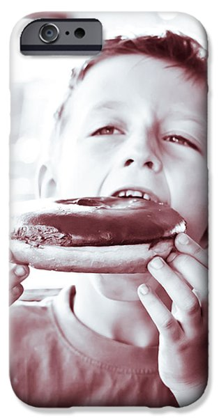 Swallows iPhone Cases - Boy with donut iPhone Case by Tom Gowanlock