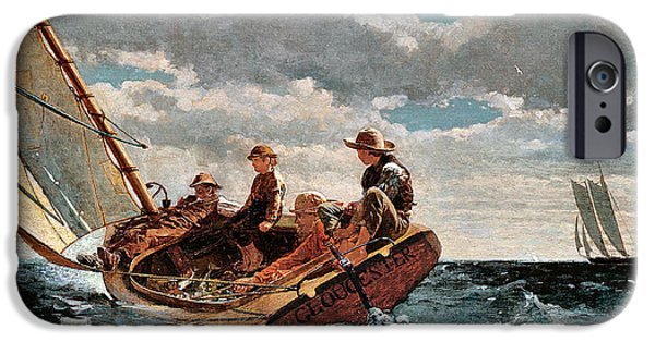 Winslow Homer iPhone Cases - Breezing Up iPhone Case by Winslow Homer