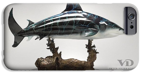 Shark Sculptures iPhone Cases - Bull Shark iPhone Case by Victor Douieb