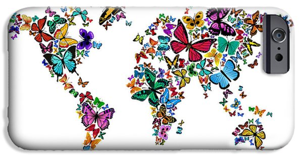 Geography iPhone Cases - Butterflies Map of the World iPhone Case by Michael Tompsett