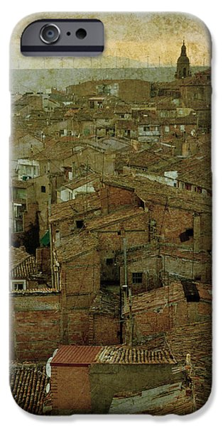 Calahorra roofs from the bell tower of Saint Andrew church iPhone Case by RicardMN Photography