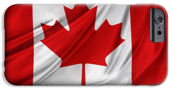 Flag iPhone Cases - Canadian flag  iPhone Case by Les Cunliffe