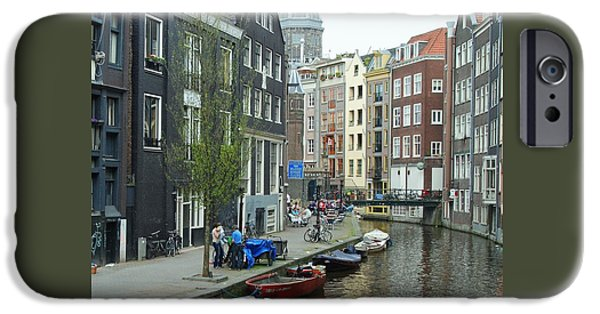 Boat iPhone Cases - Canal Scene 2 iPhone Case by Allen Beatty