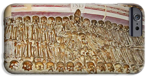 Eerie iPhone Cases - Capela Dos Ossos. Chapel Of Bones. Evora. Portugal. iPhone Case by Andy Za