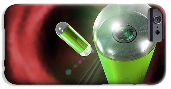 Endoscope iPhone Cases - Capsule Endoscopes, Conceptual Image iPhone Case by Victor Habbick Visions