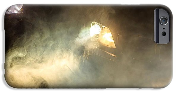 Winter Scene Pyrography iPhone Cases - Car Headlights of a car iPhone Case by Oliver Sved