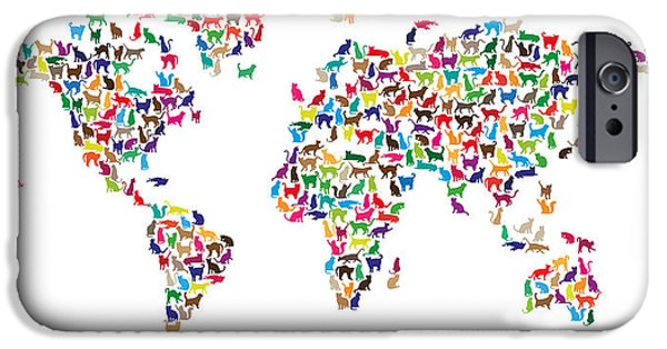 World Map Poster Digital Art iPhone Cases - Cats Map of the World Map iPhone Case by Michael Tompsett