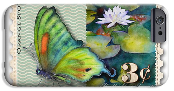 Butterfly Koi iPhone Cases - 3 Cent Butterfly Stamp iPhone Case by Amy Kirkpatrick