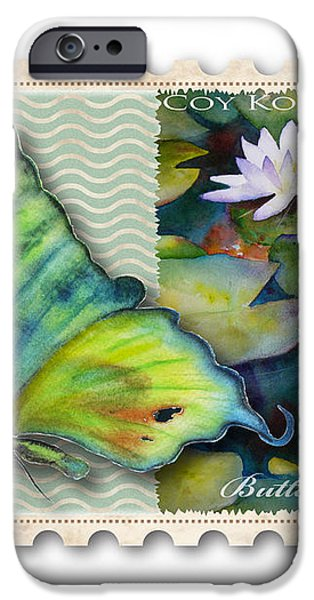 3 Cent Butterfly Stamp iPhone Case by Amy Kirkpatrick