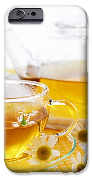 Teapot iPhone Cases - Chamomile tea iPhone Case by Elena Elisseeva