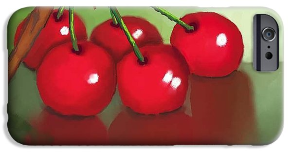 Tree Art Print iPhone Cases - Cherries iPhone Case by Dessie Durham