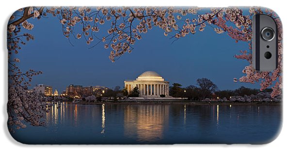Cherry Blossoms iPhone Cases - Cherry Blossom Tree With A Memorial iPhone Case by Panoramic Images
