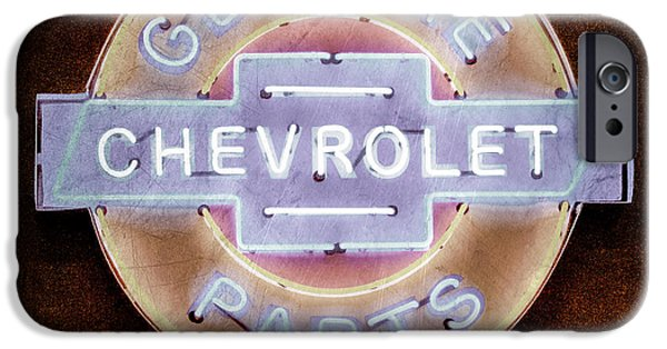 Genuine iPhone Cases - Chevrolet Neon Sign iPhone Case by Jill Reger