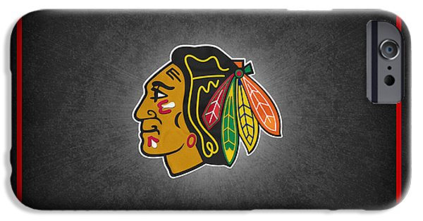 Skates iPhone Cases - Chicago Blackhawks iPhone Case by Joe Hamilton