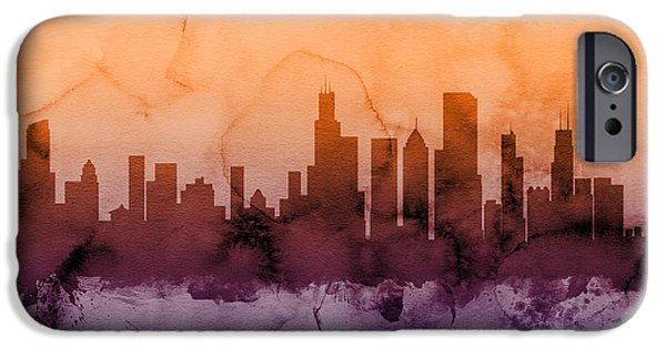 Sears Tower Digital iPhone Cases - Chicago Illinois Skyline iPhone Case by Michael Tompsett