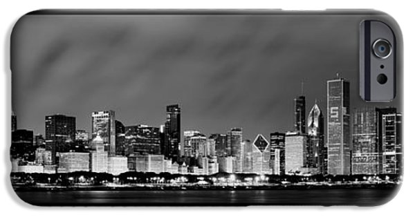 Sears Tower iPhone Cases - Chicago Skyline at Night in Black and White iPhone Case by Sebastian Musial