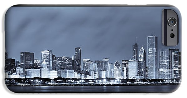 Navy iPhone Cases - Chicago Skyline at Night iPhone Case by Sebastian Musial