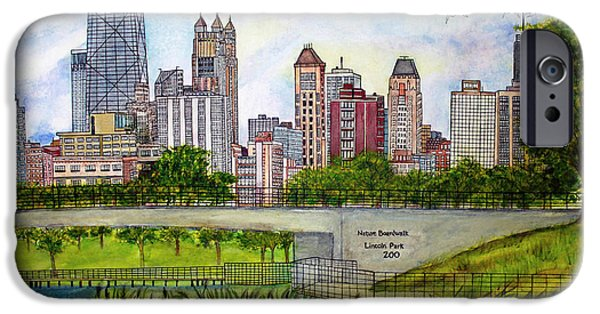 Chicago Paintings iPhone Cases - Chicago Skyline iPhone Case by Janet Immordino