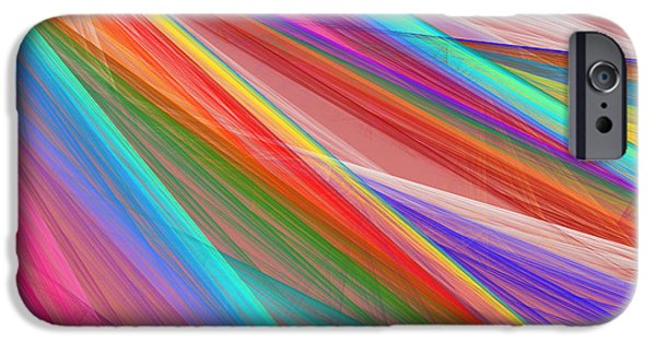 Technology Jewelry iPhone Cases - Colorful Straight Line Fractal Flame Background iPhone Case by Keith Webber Jr