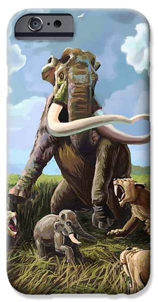Fighting Tigers iPhone Cases - Columbian Mammoth And Saber-toothed Cats iPhone Case by Spencer Sutton