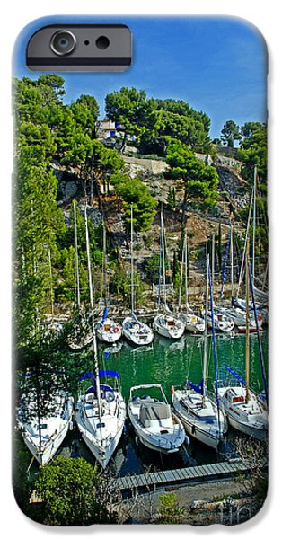 Turquois Water iPhone Cases - Beautiful view at small harbour in Calanques on Cote dazur iPhone Case by Maja Sokolowska
