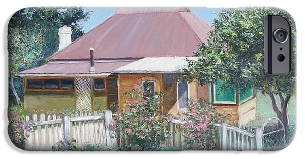 Garden Scene Paintings iPhone Cases - Country Cottage iPhone Case by Jan Matson