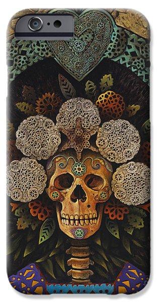 Folk Mixed Media iPhone Cases - Dia De Muertos Madonna iPhone Case by Ricardo Chavez-Mendez