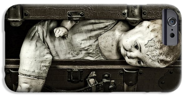 Creepy iPhone Cases - Doll In Suitcase iPhone Case by Joana Kruse