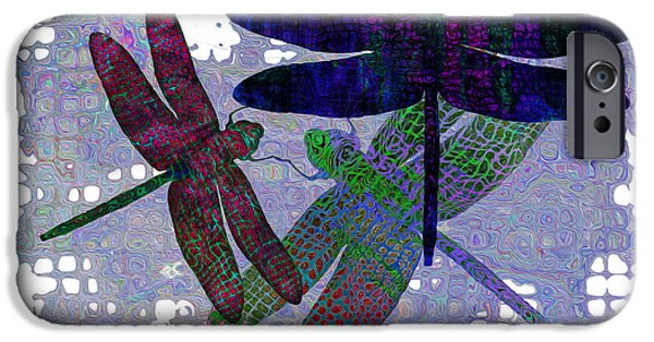 Different Worlds iPhone Cases - 3 Dragonfly iPhone Case by Jack Zulli