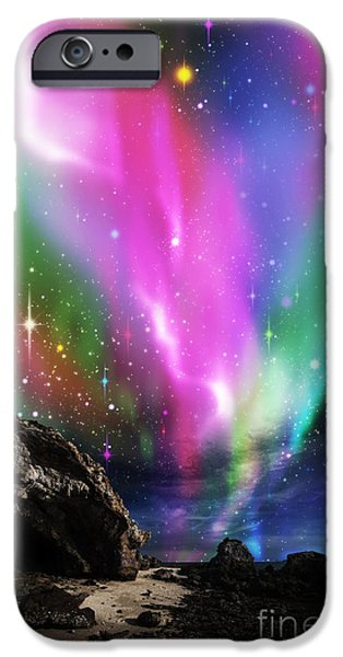 Above iPhone Cases - Dramatic Aurora iPhone Case by Atiketta Sangasaeng