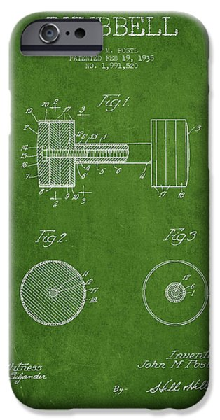 Training iPhone Cases - Dumbbell Patent Drawing from 1935 iPhone Case by Aged Pixel